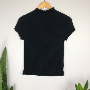 2 for $24 Black Ribbed Turtle Neck Ruffle Tee